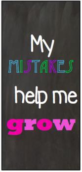 Growth Mindset Bookmarks Chalkboard