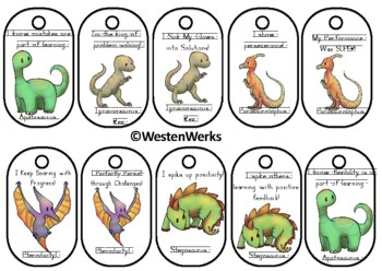 Growth Mindset Brag Tags Dinosaurs