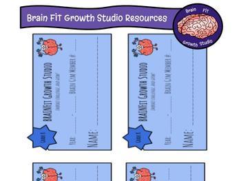 "Growth Mindset ""Brain Gym"" Membership Cards (desk or hook"