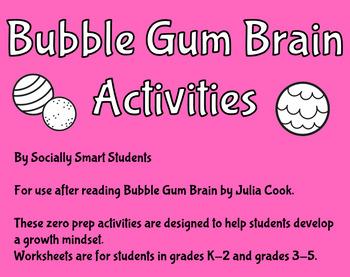 Growth Mindset Bubble Gum Brain Worksheets