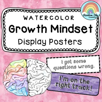 Growth Mindset Bulletin Board - Growth Mindset posters {Watercolour theme}