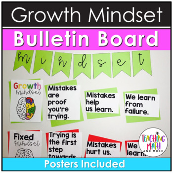 Growth Mindset Bulletin Board, Pencil Toppers, & Posters