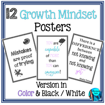 Growth Mindset Bulletin Board Posters - 12