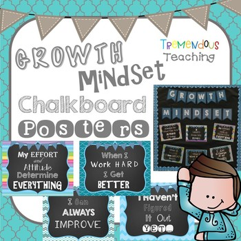 Growth Mindset Bulletin Board Posters Set - Chalkboard and Blues