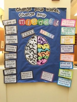 Growth Mindset Bulletin Board Set: Change your words, chan