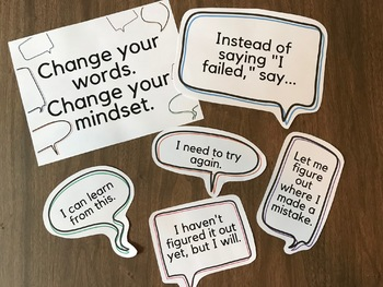 Growth Mindset Bulletin Board: Speech Bubbles to Change Students' Words