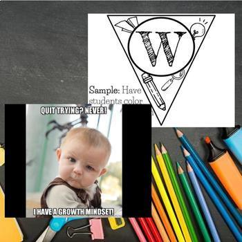 Growth Mindset Bundle Coloring Banner, Affrimation Bookmarks, and Contract PROMO