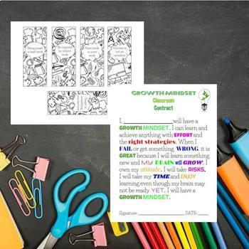 Growth Mindset Bundle Coloring Banner, Affrimation Bookmarks, Contract and more