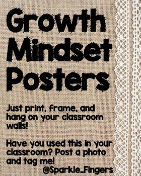 Growth Mindset- Burlap Lace Posters, 8x10