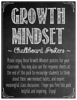 Growth Mindset Chalkboard Posters
