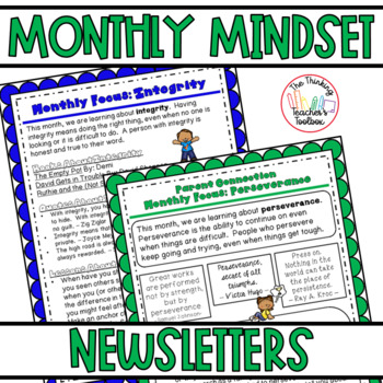 Growth Mindset & Character Education Monthly Newsletters for Teachers & Parents
