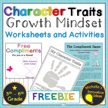 Growth Mindset Character Traits Worksheets And Games Tpt