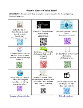 Growth Mindset Choice Board Utilizing QR Codes