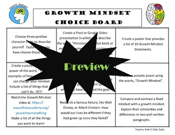 Growth Mindset Choice Board Activity Menu Project with Rubric