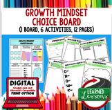 Growth Mindset Activities Choice Board, Digital Distance L