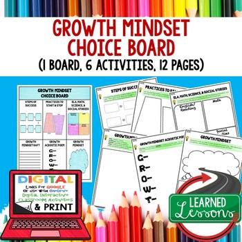 Growth Mindset Choice Board and Activity Pages (Paper and