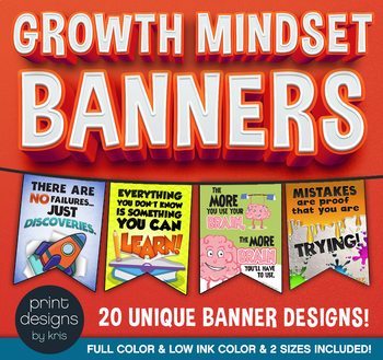 Growth Mindset Banners for the Classroom/School
