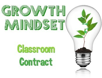 Growth Mindset Classroom Contract Back to School
