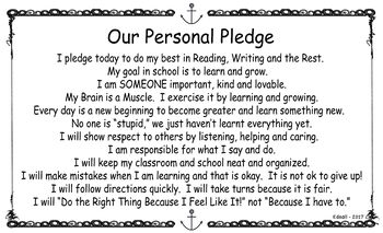Growth Mindset Classroom Pledge - Morning Meeting
