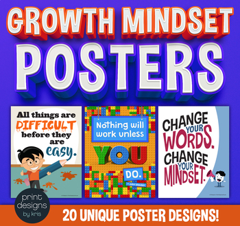 Growth Mindset Posters - 20 Unique Designs in 2 Sizes
