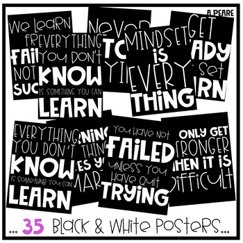 Growth Mindset Black & White Classroom Posters