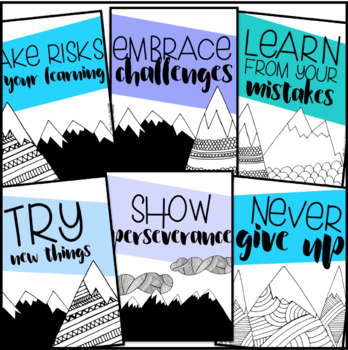 Growth Mindset Classroom Posters {Mountain Theme}
