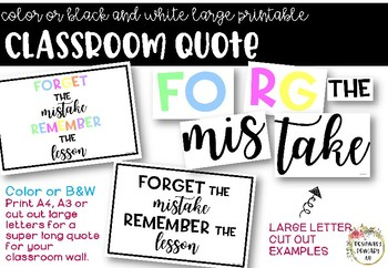 Growth Mindset Classroom Quote - Color/Black White - One Page or Letter Cut Outs