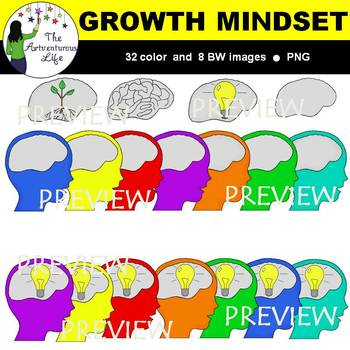 Growth Mindset Clip Art (Thinking and Brains Set)
