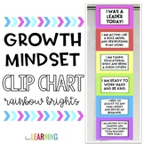 Growth Mindset Clip Chart - Rainbow Bright Colors and Black and White Version