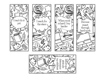 Growth Mindset Coloring Bookmarks with Phrases and Affrimations