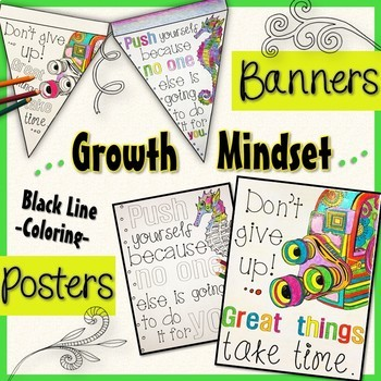 Growth Mindset Posters AND Coloring Banners Stress Management Back to School