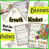 Growth Mindset Posters AND Coloring Banners Stress Management Testing Motivation