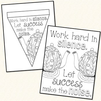 Growth Mindset Coloring Banners & Posters Stress Management Testing Motivation