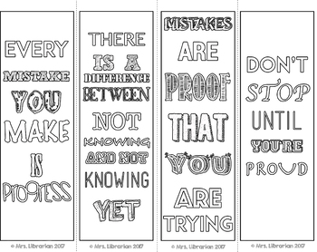 Growth Mindset Coloring Bookmarks by Mrs Librarian | TpT