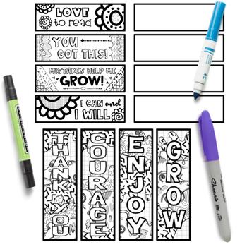 Growth Mindset Coloring Bookmarks: Set #1