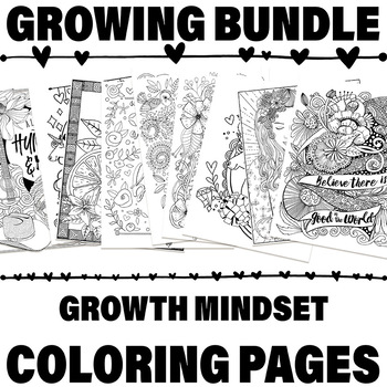 29 Growth Mindset Coloring Pages, Growing Bundle.  Positivity Themed