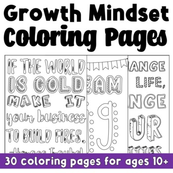 Growth Mindset Coloring Pages (Back to School)