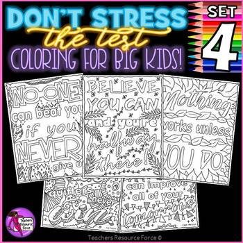Growth Mindset Coloring Pages / Posters / Sheets: Don't Stress The Test 4!