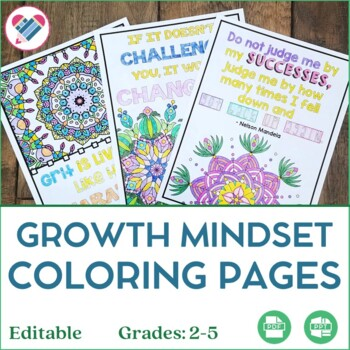 Growth Mindset Coloring Pages For Mindfulness EDITABLE