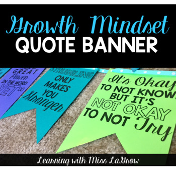 Growth Mindset Customizable Quote Bunting Banner