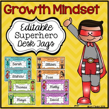 Growth Mindset Desk Tags Superhero Themed