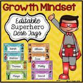 Growth Mindset Desk Tags Superhero Themed
