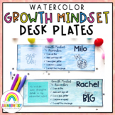 Growth Mindset Desk plates / Name plates {Watercolor theme}
