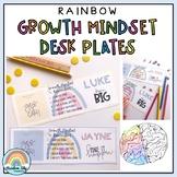 Growth Mindset Desk plates | Desk Name tags | Modern Pastel Rainbow