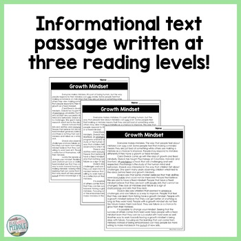 Growth Mindset Differentiated Informational Text Reading Passage & Activities