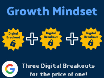 Growth Mindset Digital Breakout Bundle: (Famous Failures, Setting Goals, +)