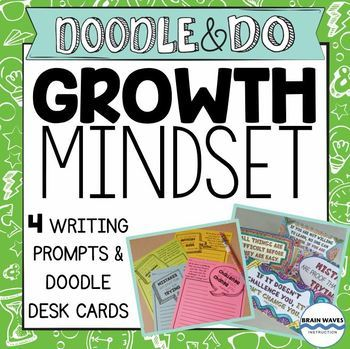 Growth Mindset Doodle Desk Cards and Writing Prompts