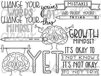 Growth Mindset pt 1 Digital Clip Art Set- Black Line Version