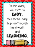 "Growth Mindset ""Easy"" Motivational Poster"