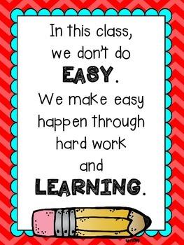 "Growth Mindset ""Easy"" Motivational Poster"